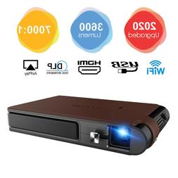 CAIWEI Portable WIFI 3D Projector DLP 3600lumens Wireless Pi