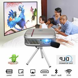Pocket Size DLP Wifi Android 7.1 Projector Blue Tooth Home T