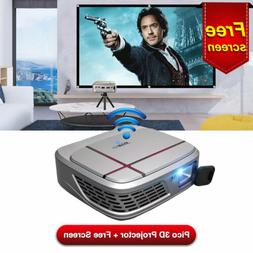 EUG Portable DLP 3D Projector 1080P Airplay Miracast Screen